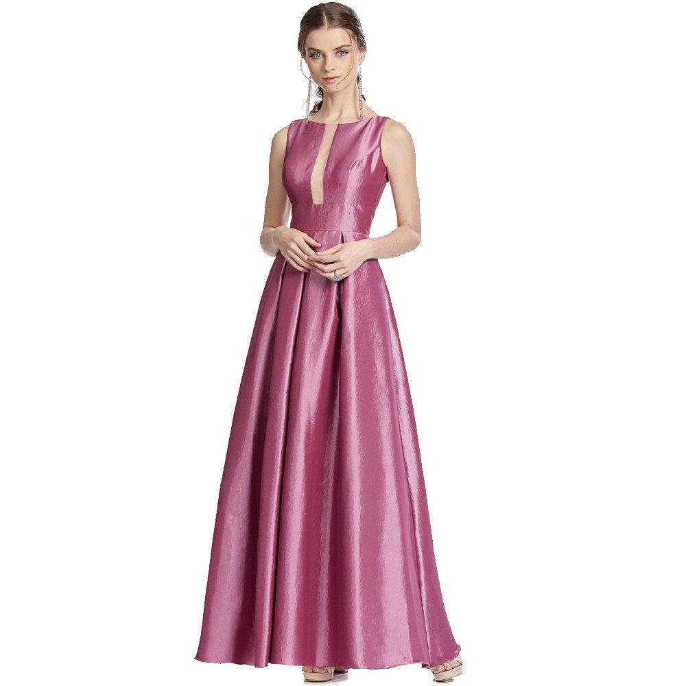 Flora vestido largo falda circular con escote redondo