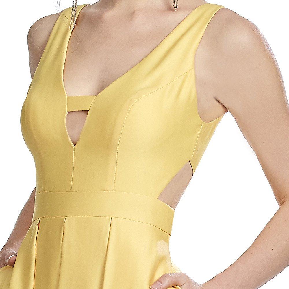 Fernanda vestido largo escote en V con cut out en costados