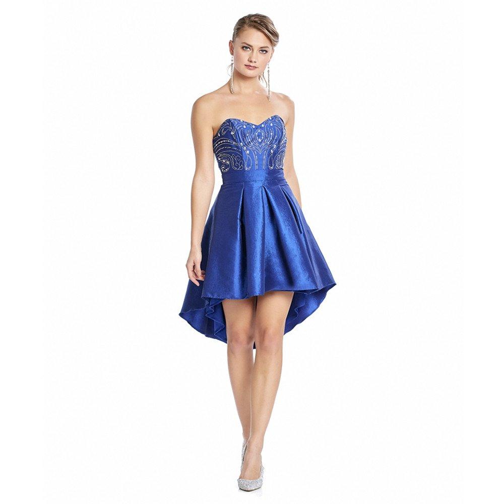 Begoña vestido corto asimétrico strapless con aplicaciones de pedrería