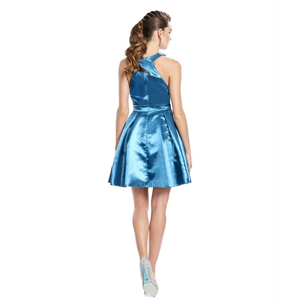 Rita vestido corto cuello halter con transparencias en costados