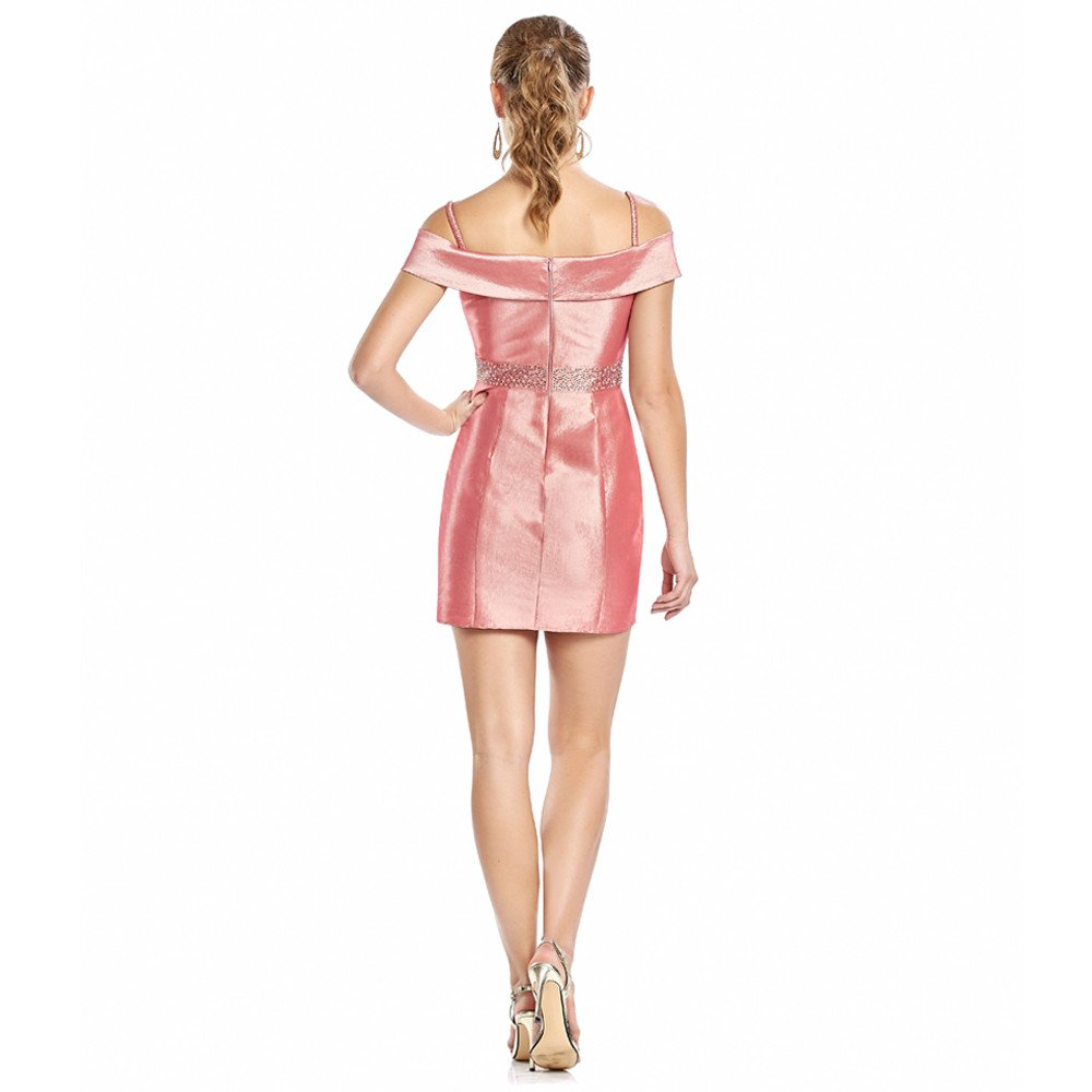Malena vestido corto off shoulder cruzado con tirantes