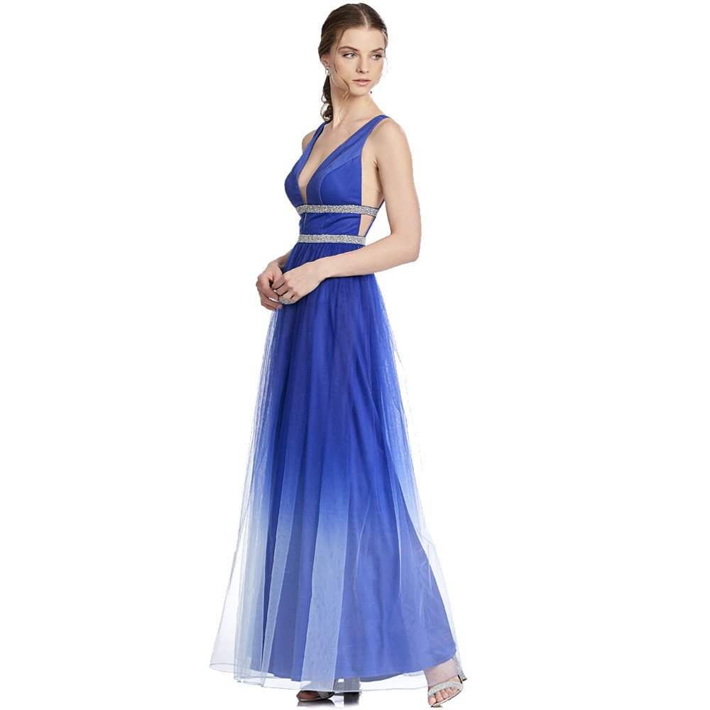 Greta vestido largo de tul con transparencias y detalles de pedrería