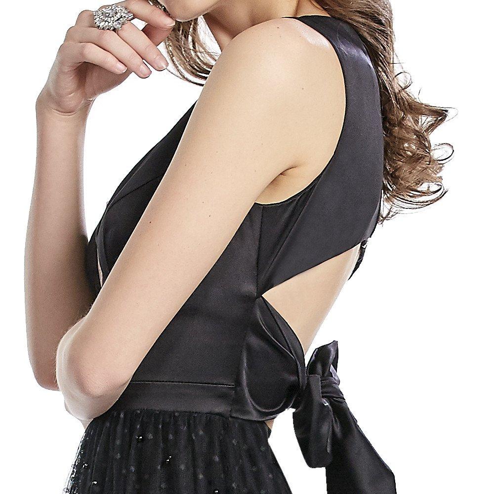 Octavia vestido largo escote V y falda con perlas