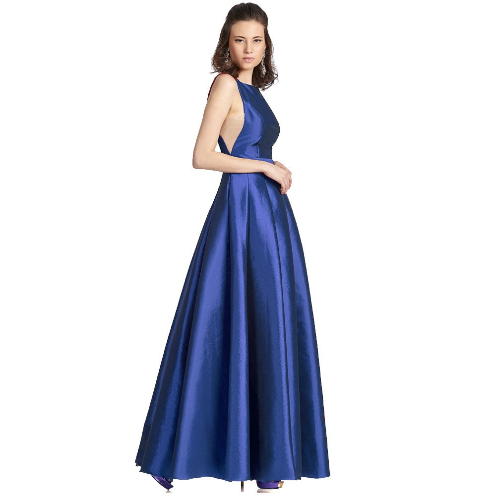 Natalia vestido largo escote ojal con falda línea A
