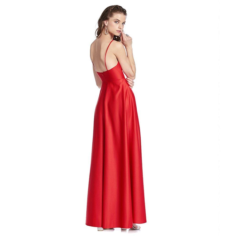 Galilea vestido largo escote profundo con aplicaciones en bolsas