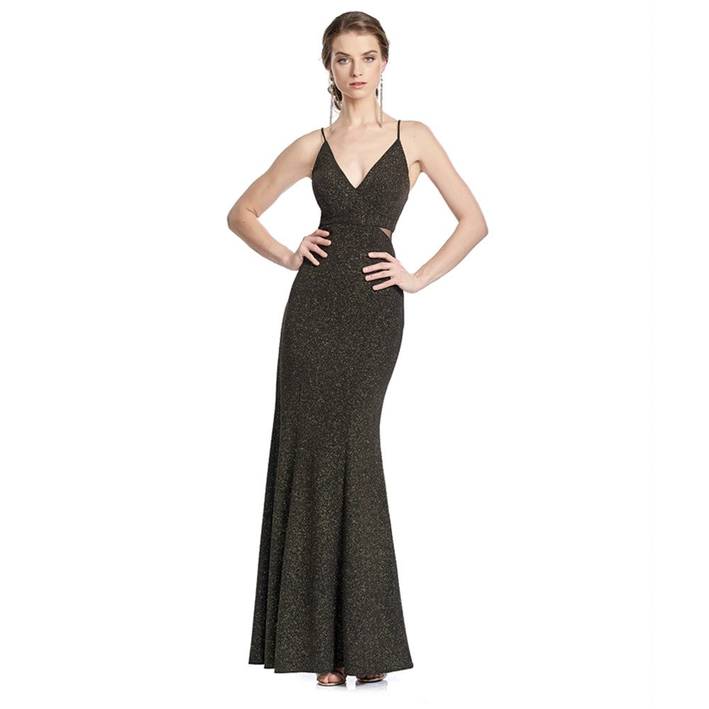 Stephany vestido largo con escote profundo tirantes y transparencias