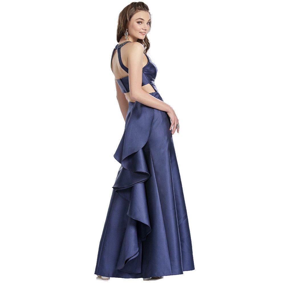 Raquel vestido largo halter con falda con escarola y abertura frontal