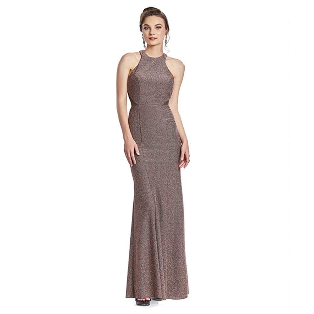 Antonela vestido largo halter con corte sirena y transparencias