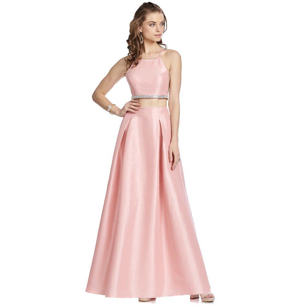 Tina vestido de dos piezas con top halter y falda línea A