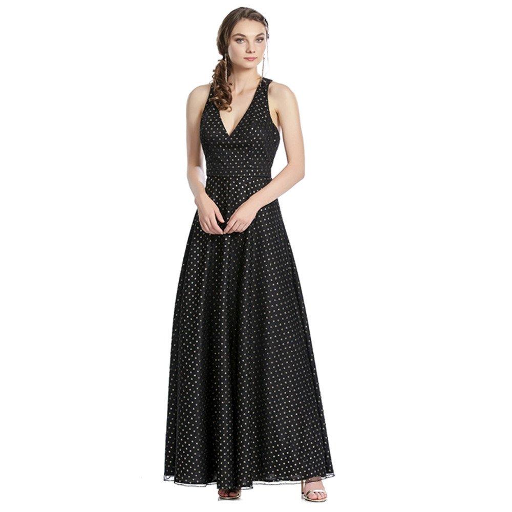 Agata vestido largo con estampado de lunares y escote V