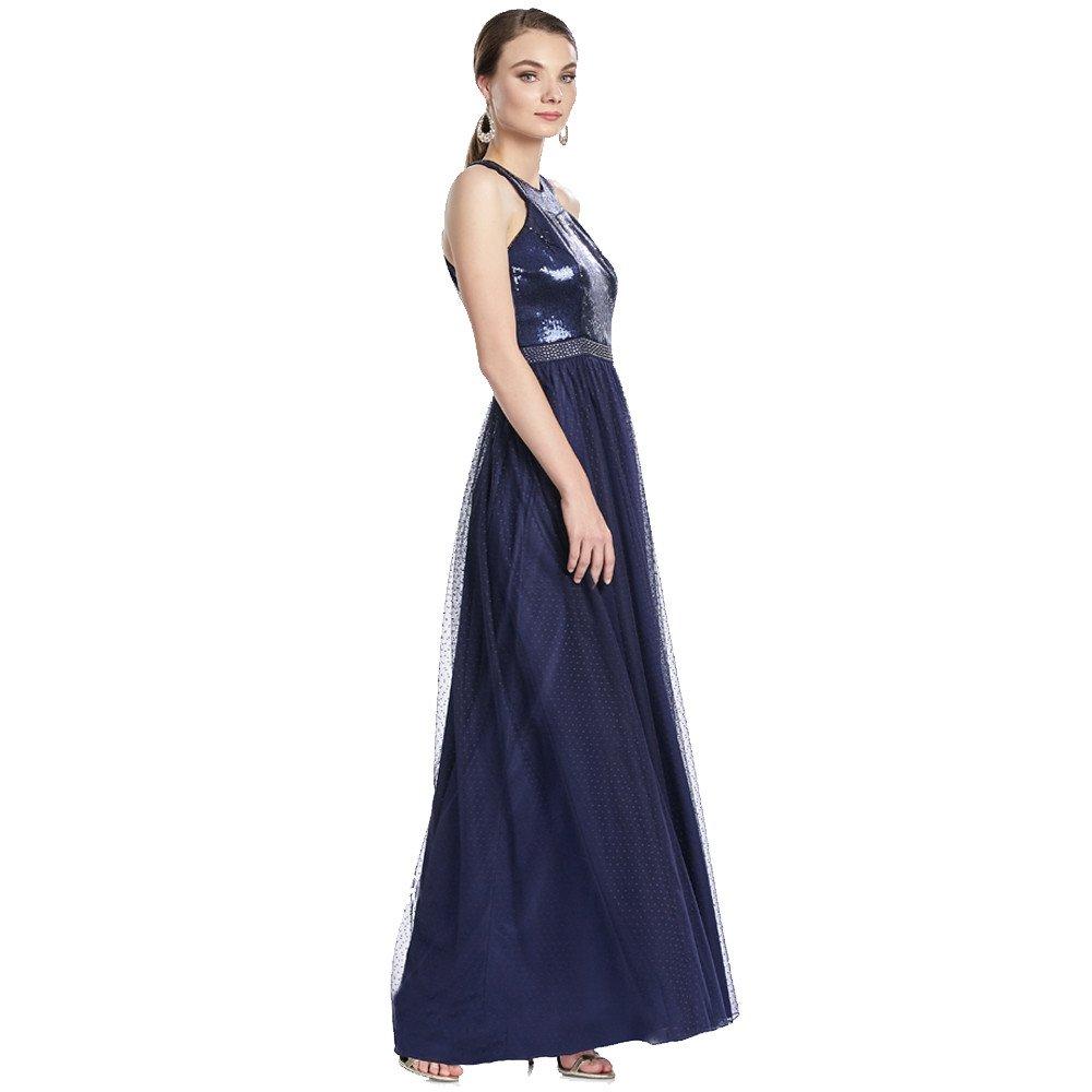 Sabrina vestido largo escote redondo con lentejuelas