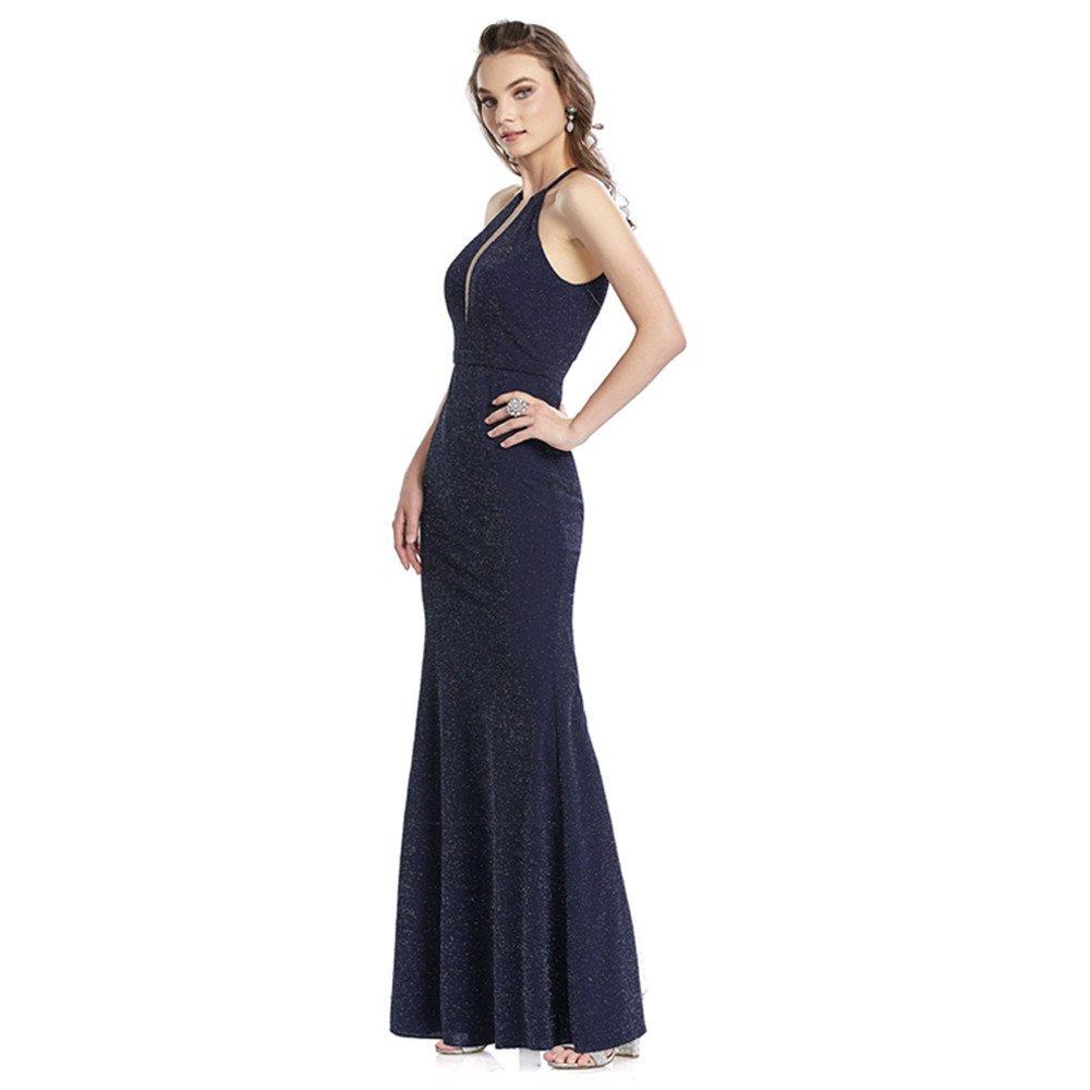 Brigitte vestido largo de falda recta con escote tipo halter y transparencia