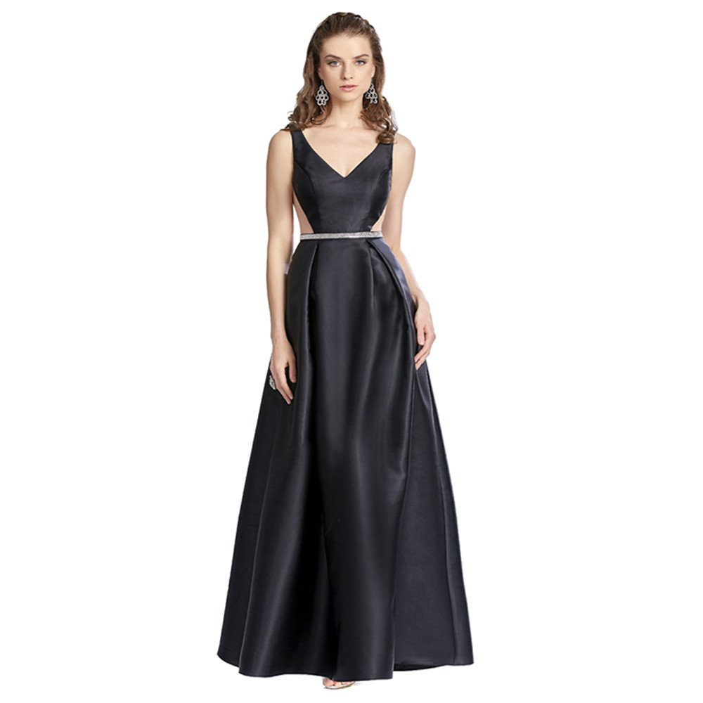 Laila vestido largo escote profundo con transparencias en los costados