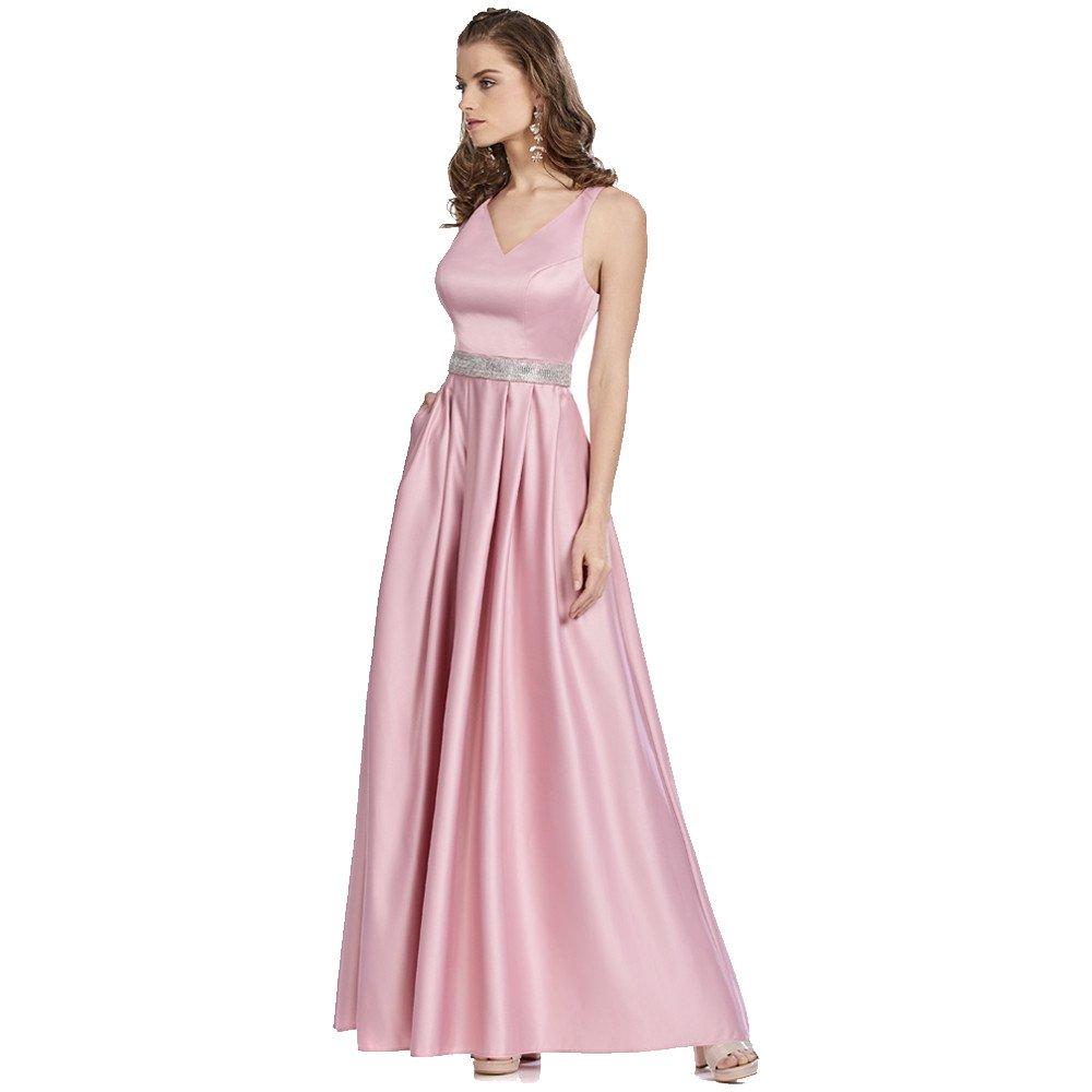 Agnes vestido largo con aplicación en cintura