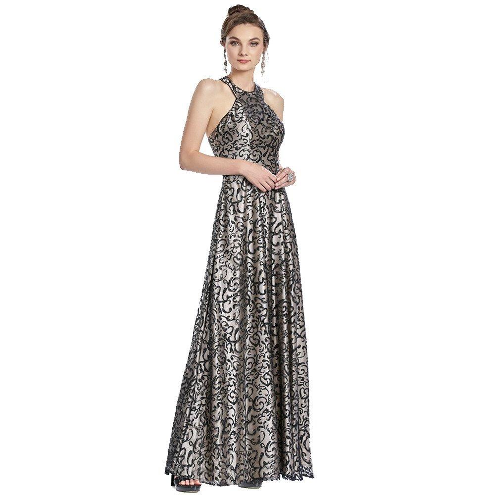 Teodora vestido largo halter con escote redondo