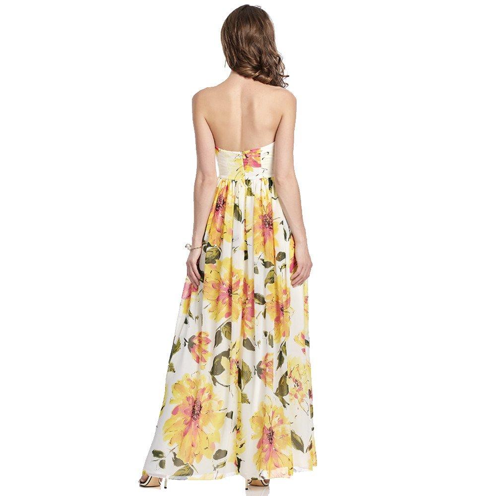 Valentina vestido largo estampado con escote strapless drapeado