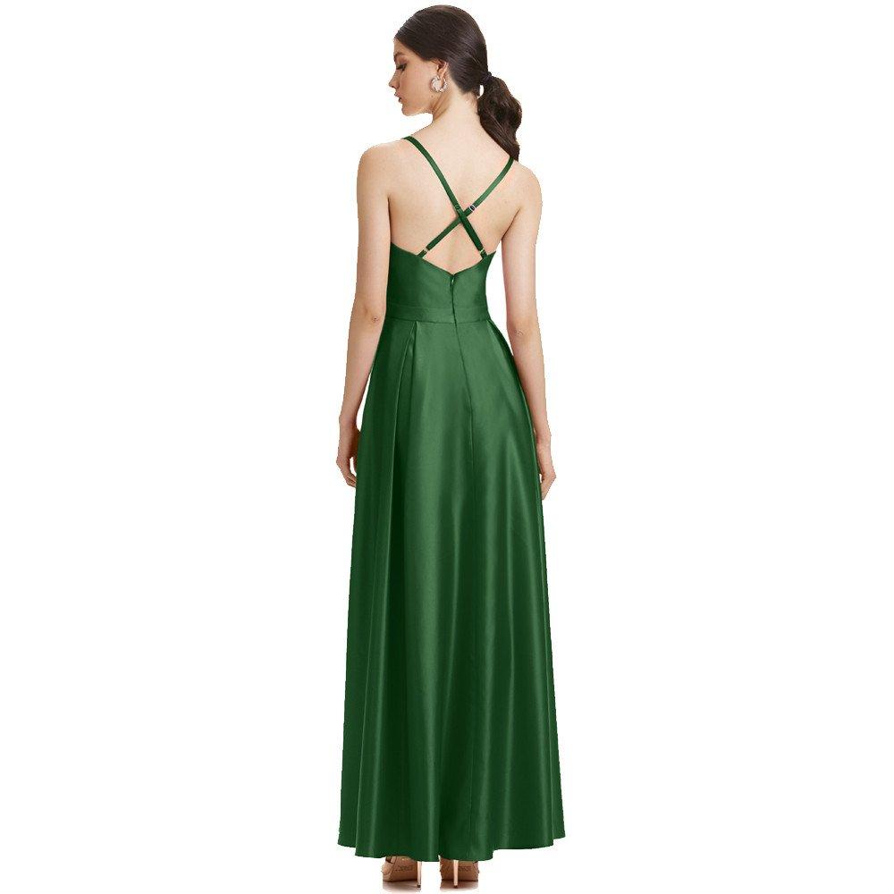 Perla vestido largo de raso con tirantes