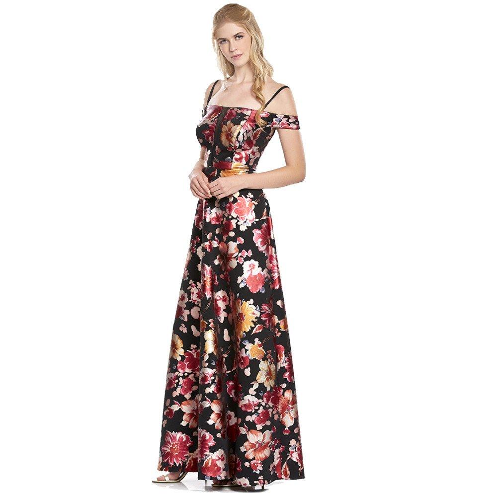 Freya vestido largo off-the-shoulder estampado
