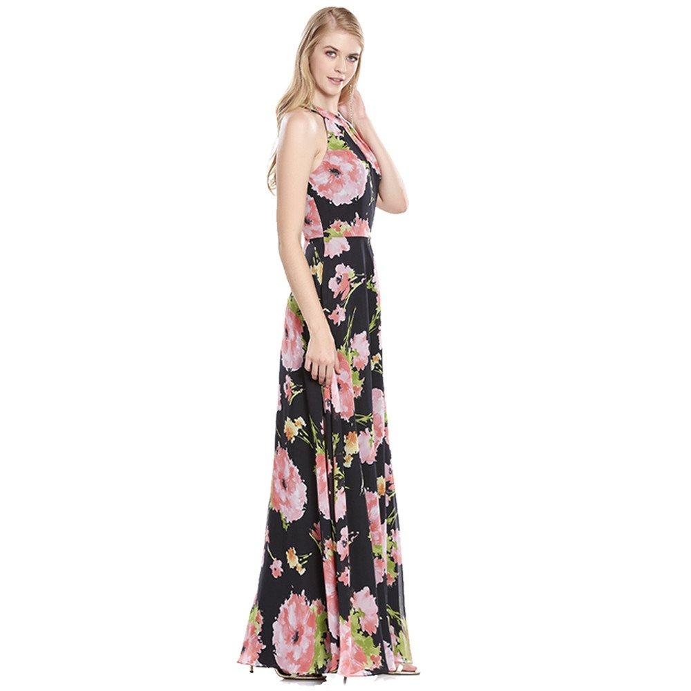 Guillermina vestido largo estampado con escote halter