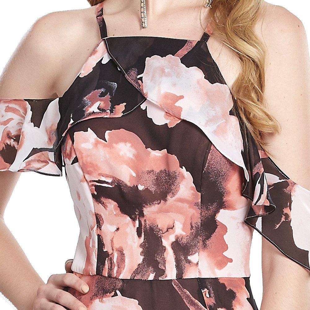 Heidi vestido largo halter con mangas de holán sobre hombro