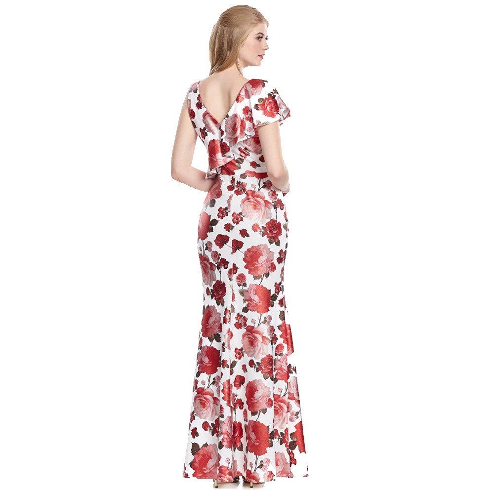 Cecilia vestido largo estampado floral con holán en hombro