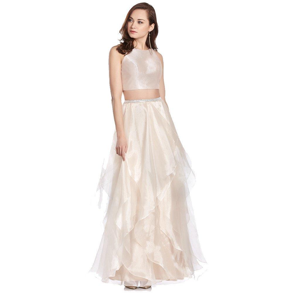 Irene vestido largo de dos piezas con holanes en falda