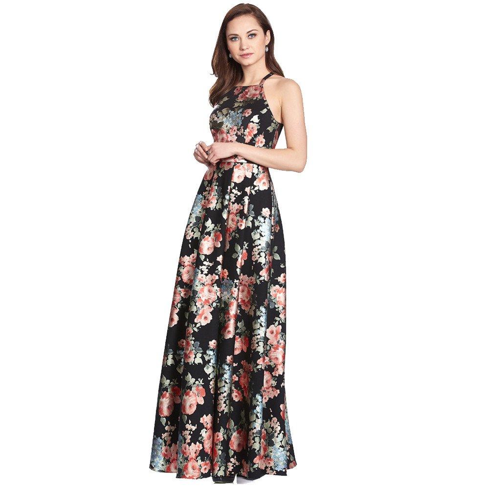 Daisy vestido largo estampado floral con escote redondo y tirantes