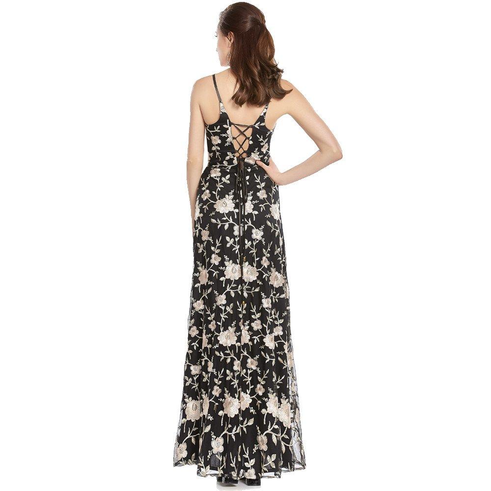 Elisa vestido largo de encaje con tirantes cruzados en espalda y lados de cintura