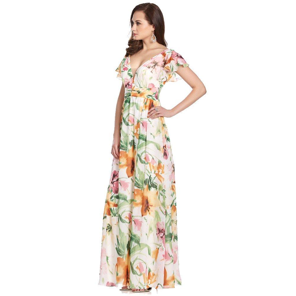 Leonor vestido largo estampado con volantes en mangas