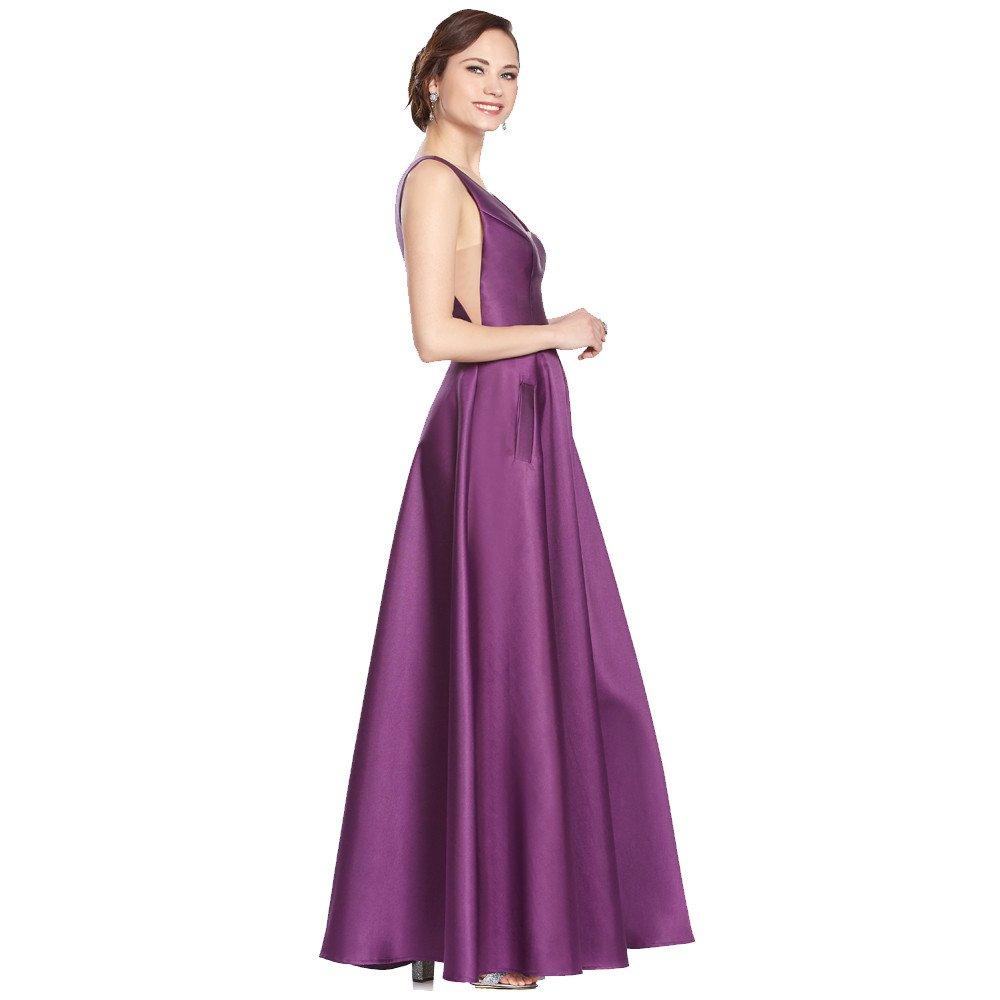 Gloria vestido largo con escote V y transparencias en costados de cintura