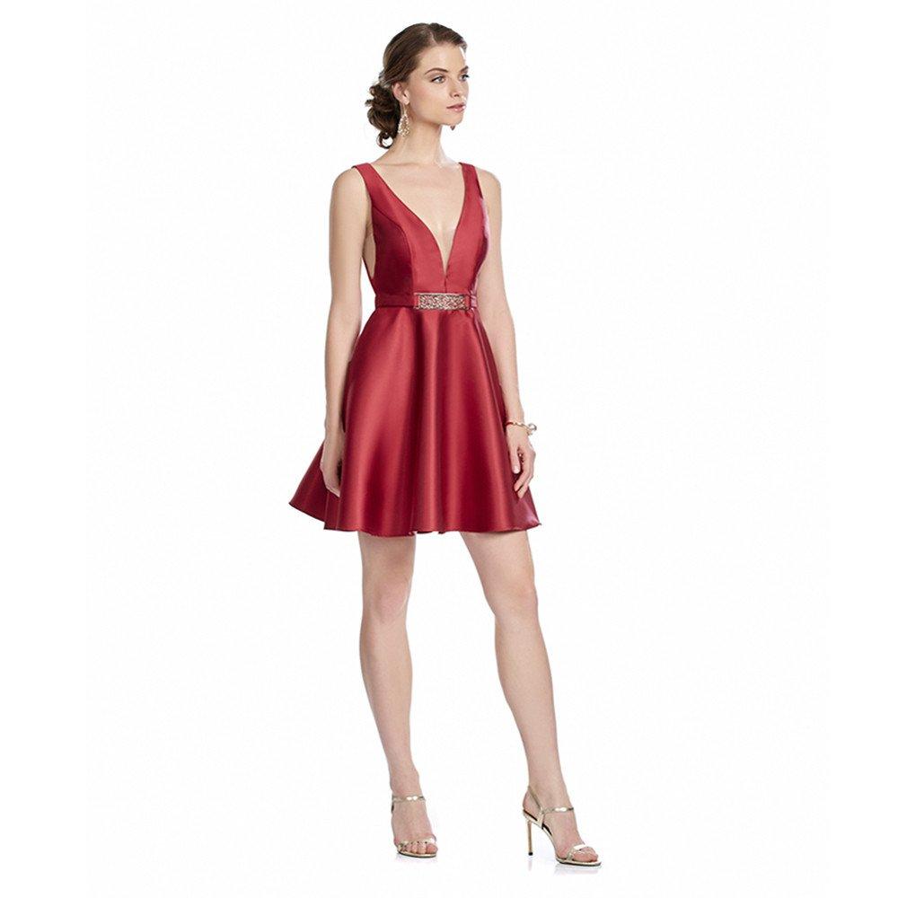 Angeles vestido corto con hebilla escote profundo