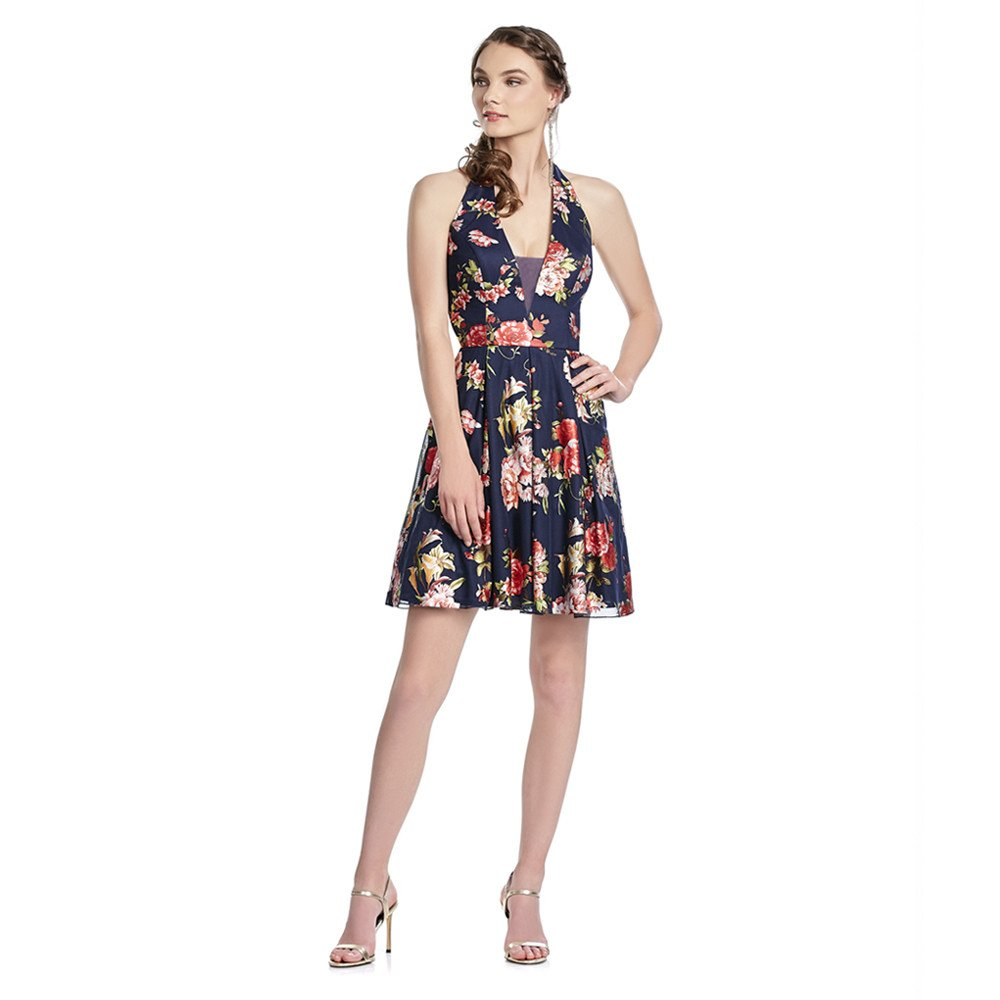 Azalea vestido corto con estampado floral y escote halter