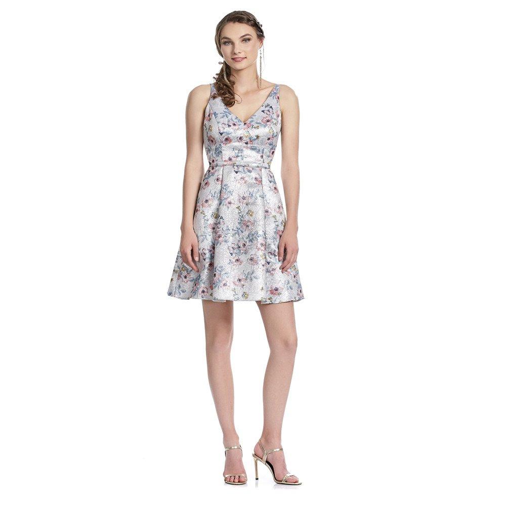 Alejandra vestido corto con estampado floral y escote V frontal y en espalda