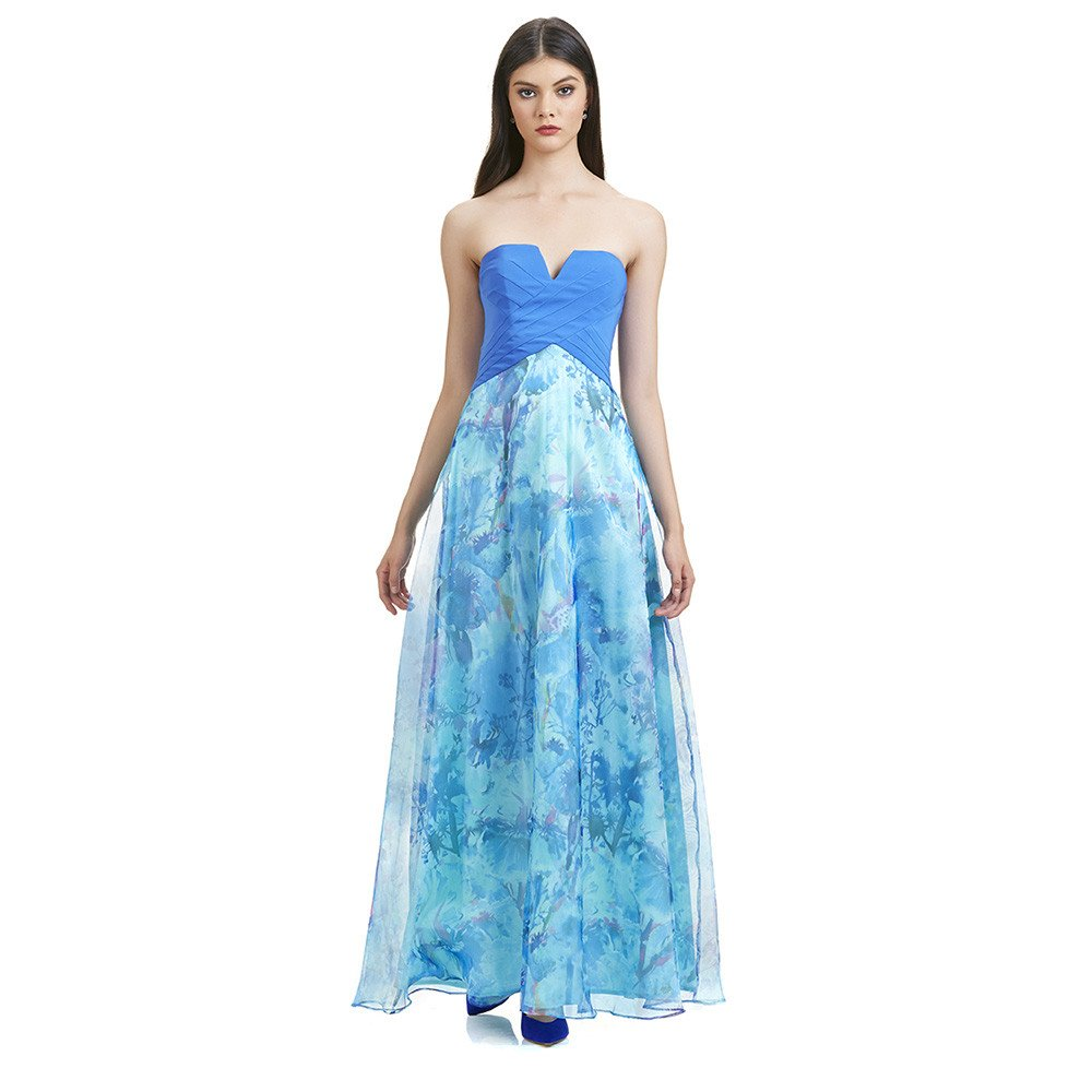 Adriana vestido largo strapless floral