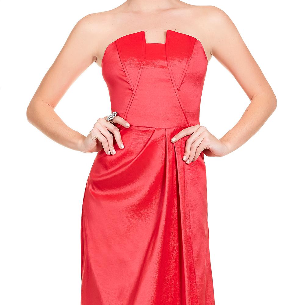 Aida vestido largo strapless con plisados