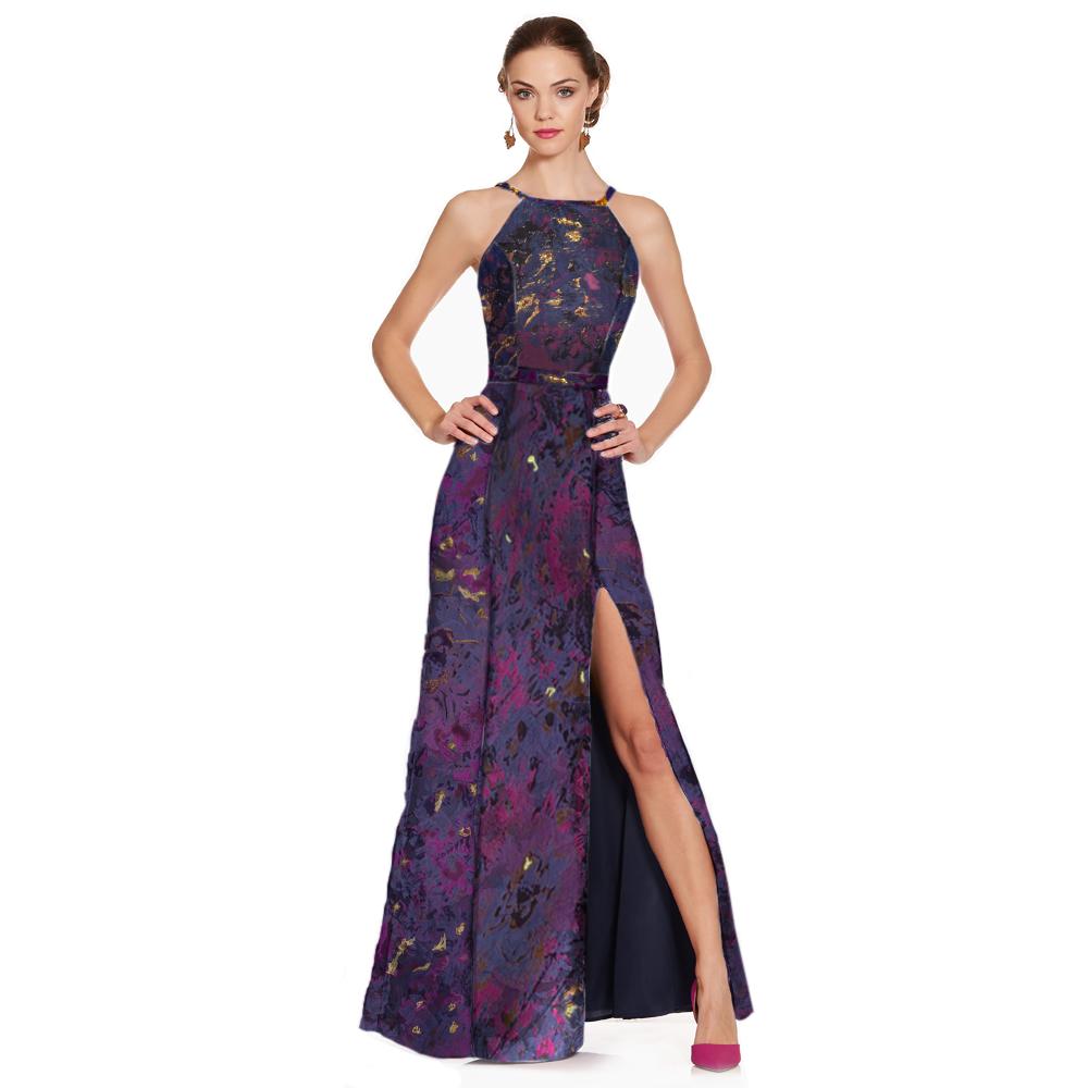 Alexa vestido largo halter floral