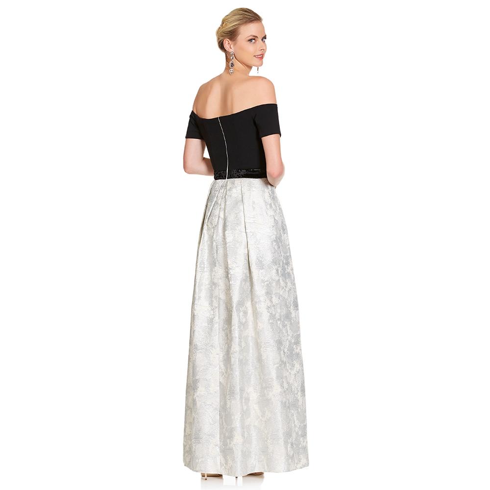 Alma vestido largo off-shoulder y tablones