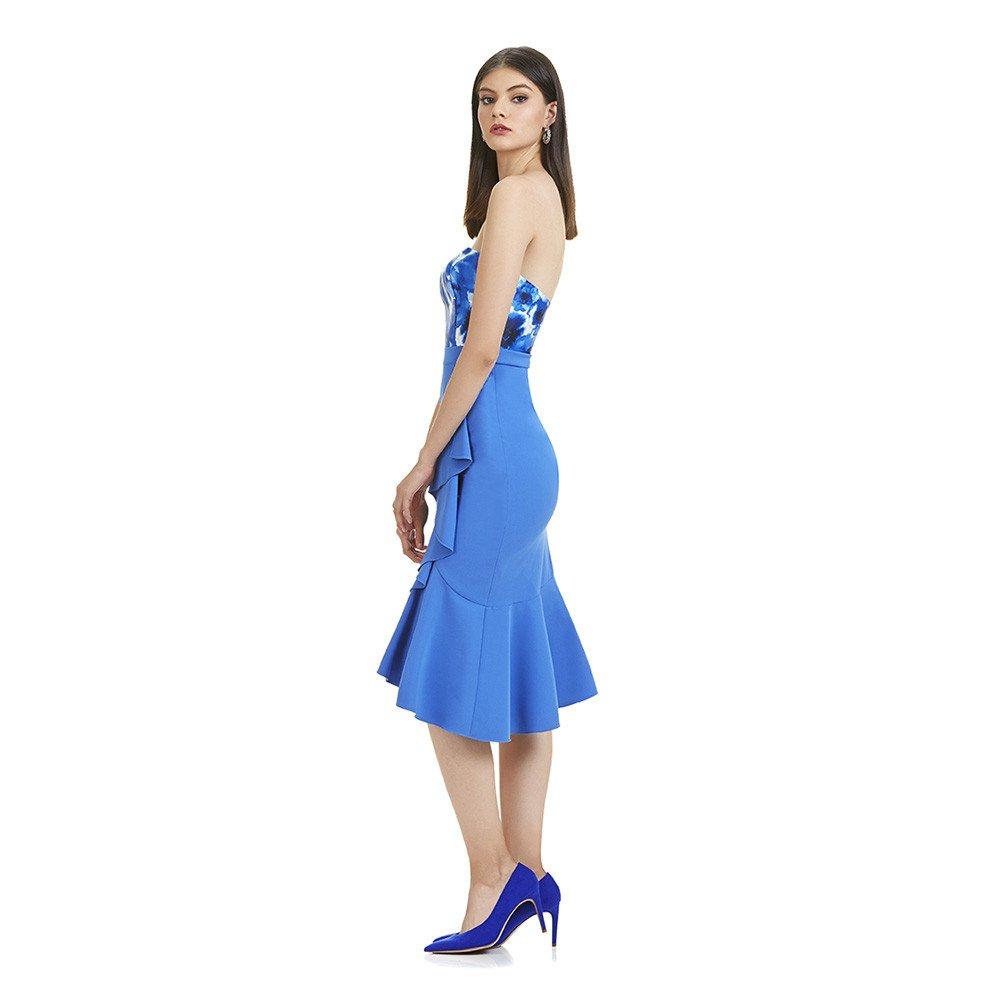 Amalia vestido corto asimetrico strapless
