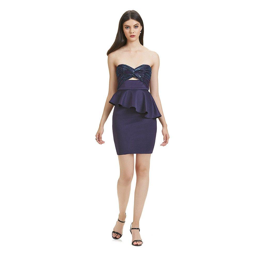 Amelia vestido corto strapless tornasol