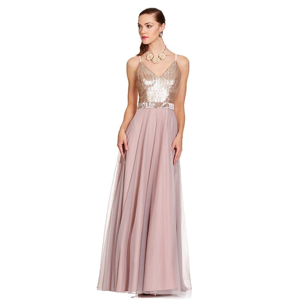 Arantza vestido largo metalico con lentejuelas