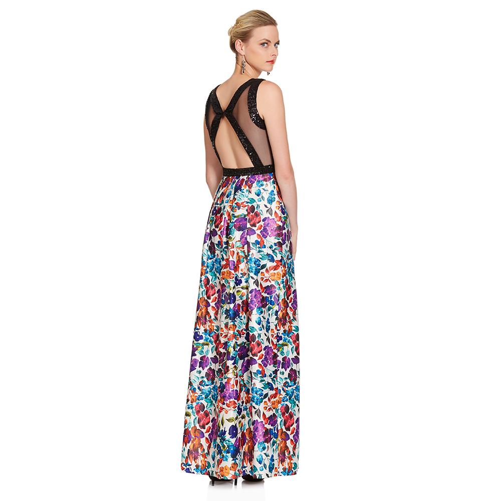 Ariel vestido largo floral y lentejuela
