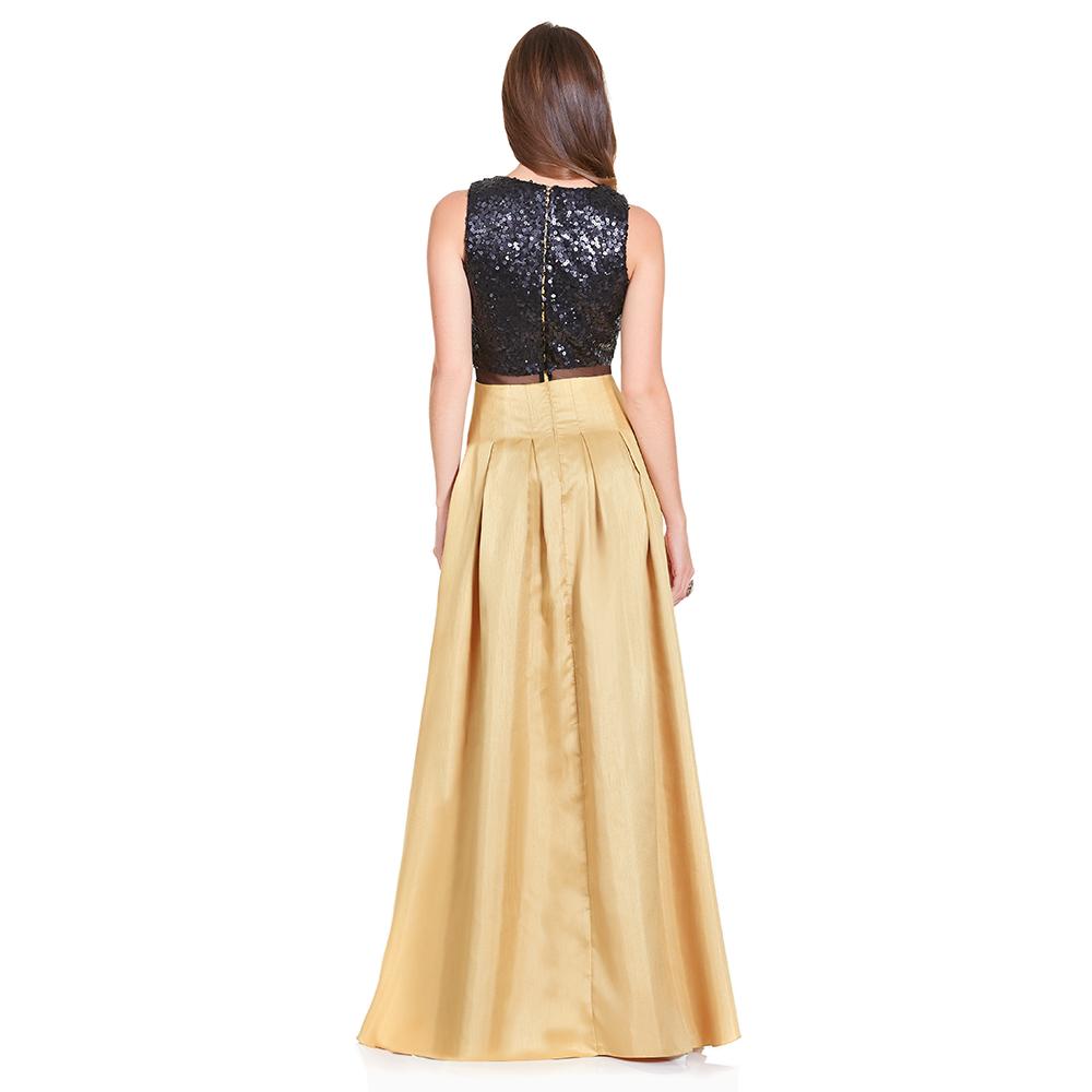 Atala vestido largo con tablones y lentejuela