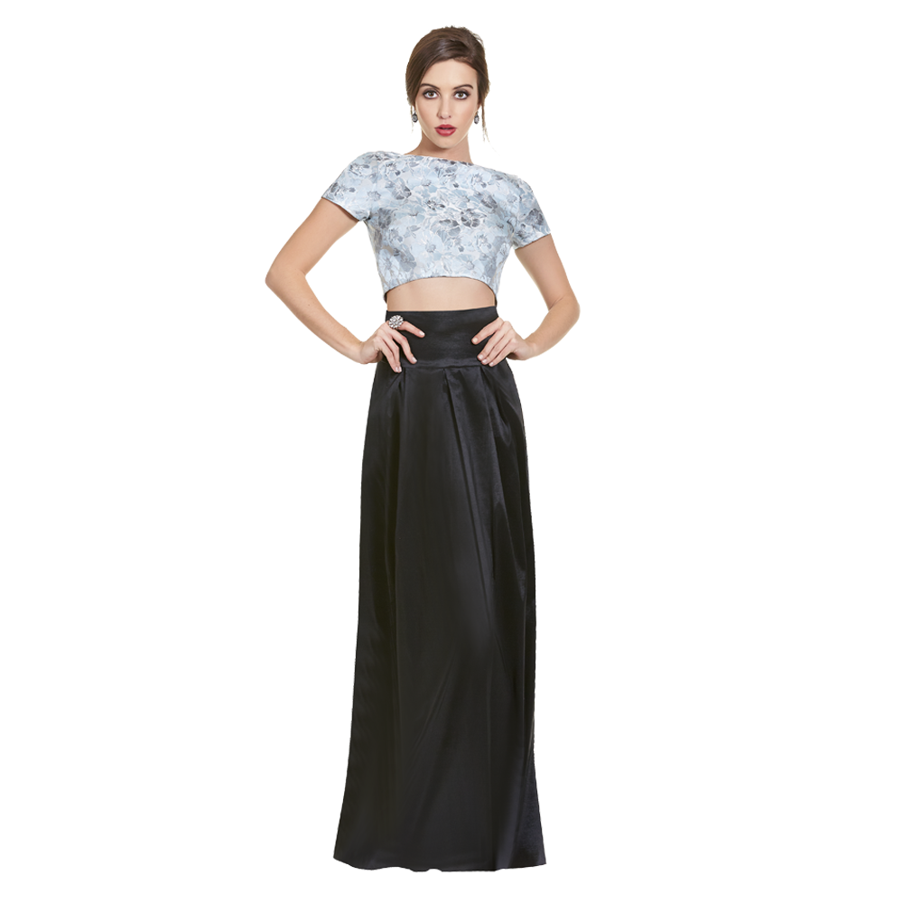 Christian vestido largo crop-top estampado