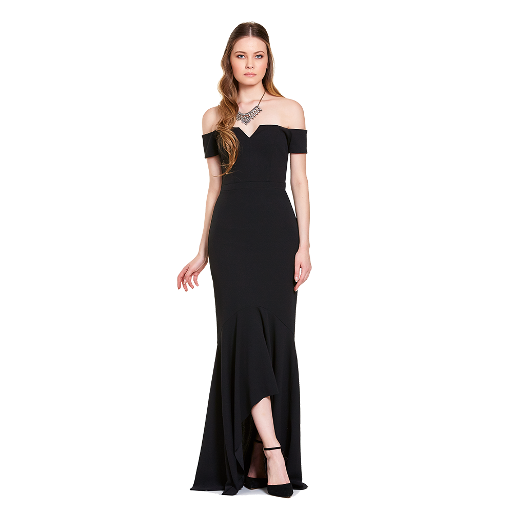 Dara vestido largo off-shoulder