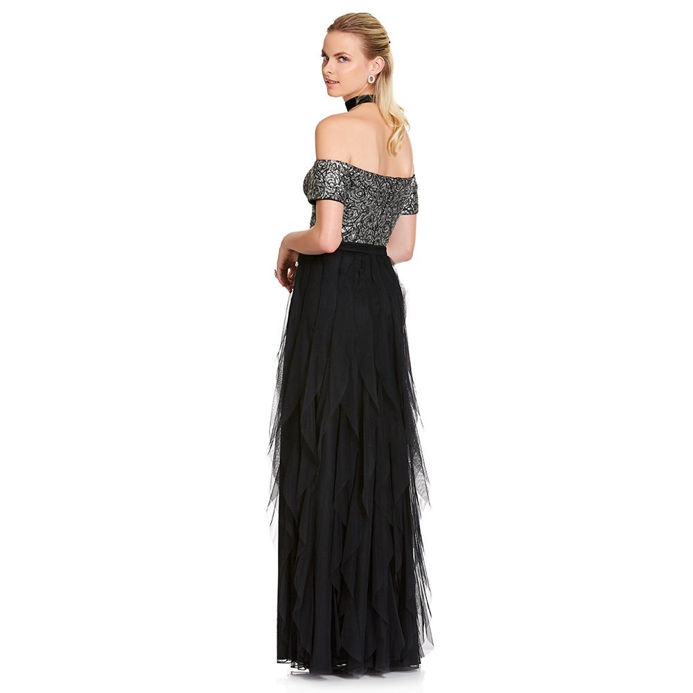 Elba vestido largo off-shoulder y escarolas