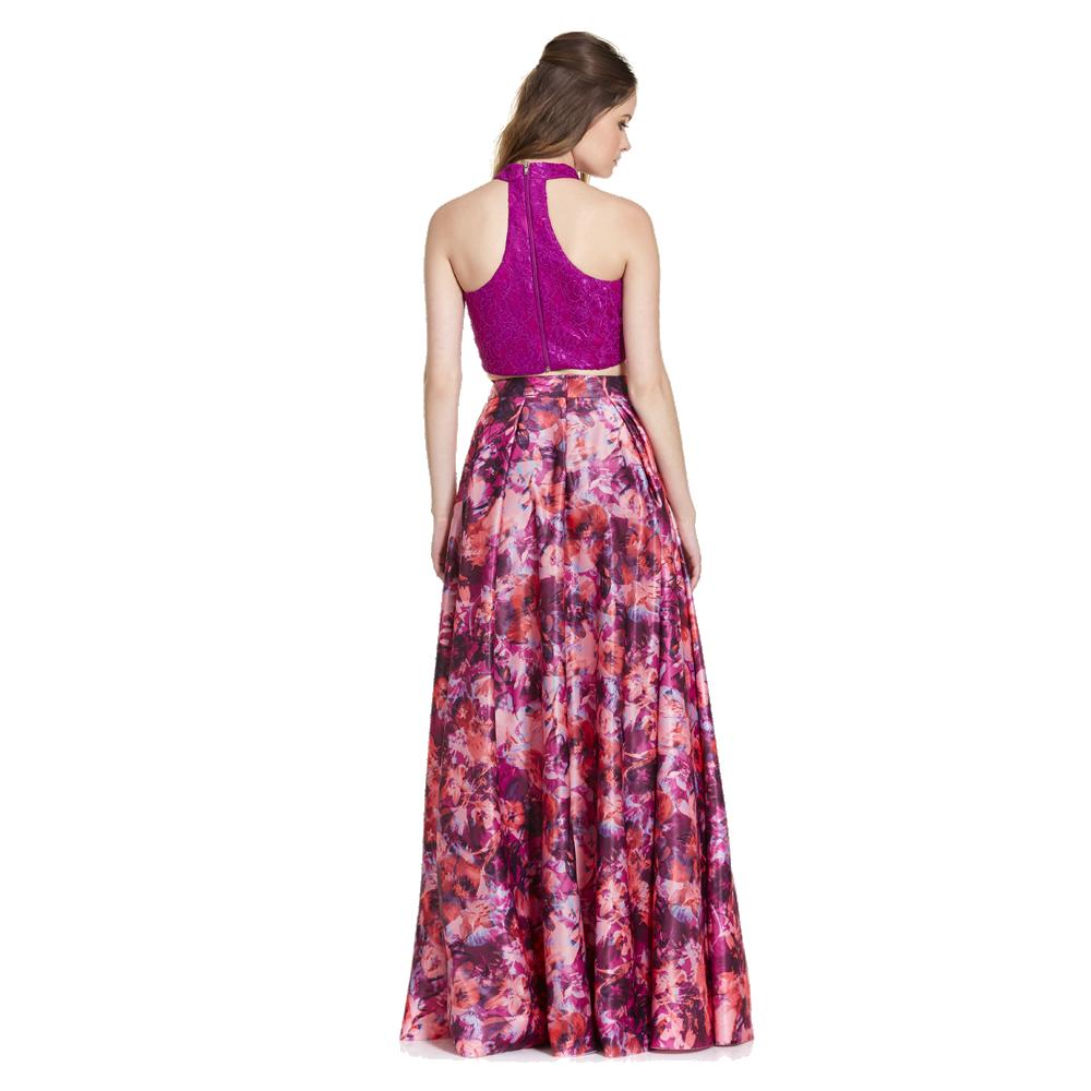 Fernanda vestido largo crop-top estampado