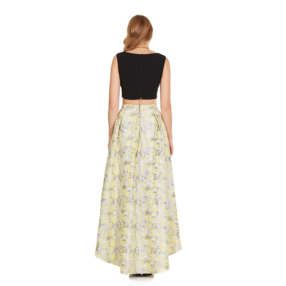 Gala vestido dos piezas asimetrico y crop-top