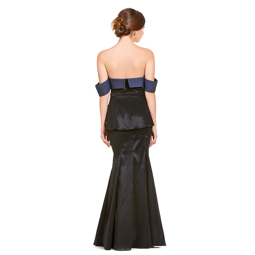 Lua vestido largo off shoulder peplum