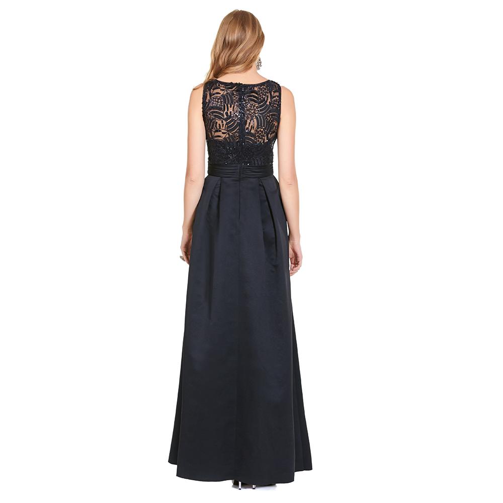 Luna vestido largo de tablones y encaje