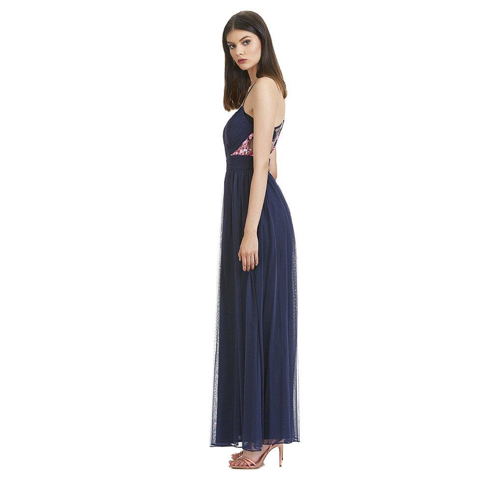 Nadia vestido largo de encaje y plisados